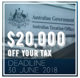 $20,000 off tax deadline June 2018