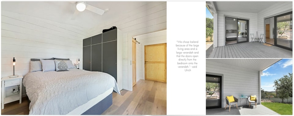 Bedroom to verandah Iceland project built in 2020