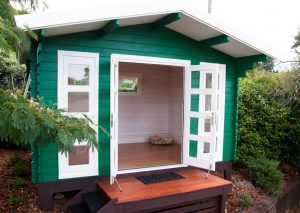 Front of backyard cabin Crete