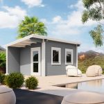 Backyard cabin Milos 14 m² grey white