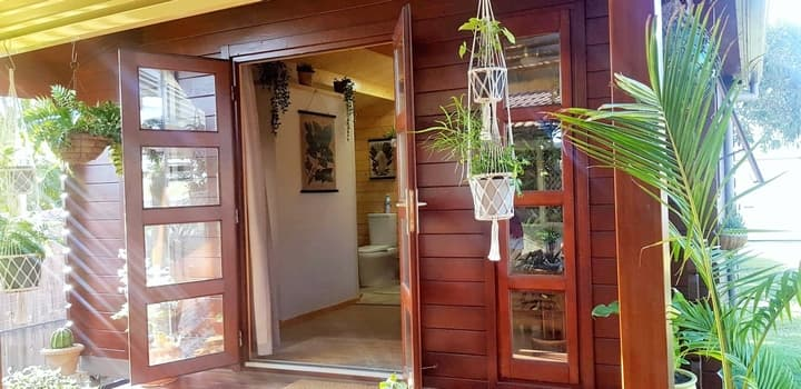 Entry french doors of bedroom addition in Coolum Beach QLD