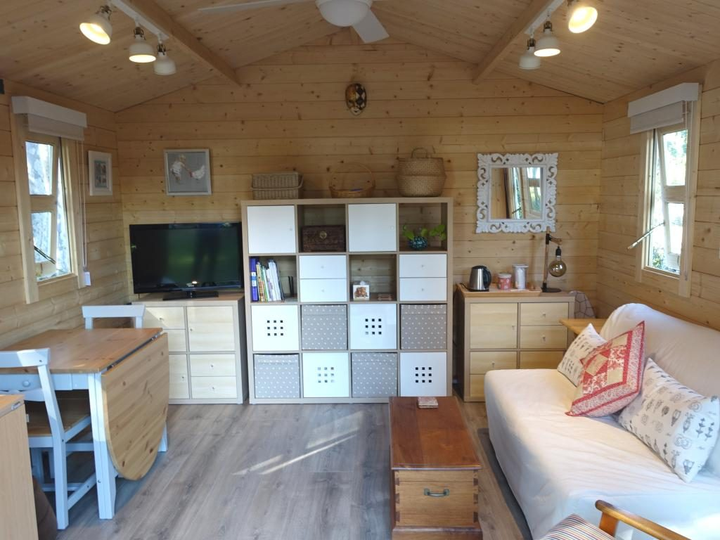 Backyard cabin as sewing room