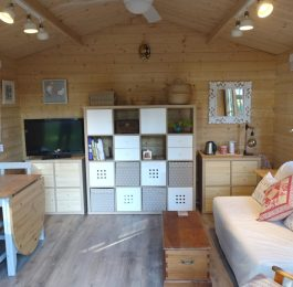 Backyard cabin as sewing room