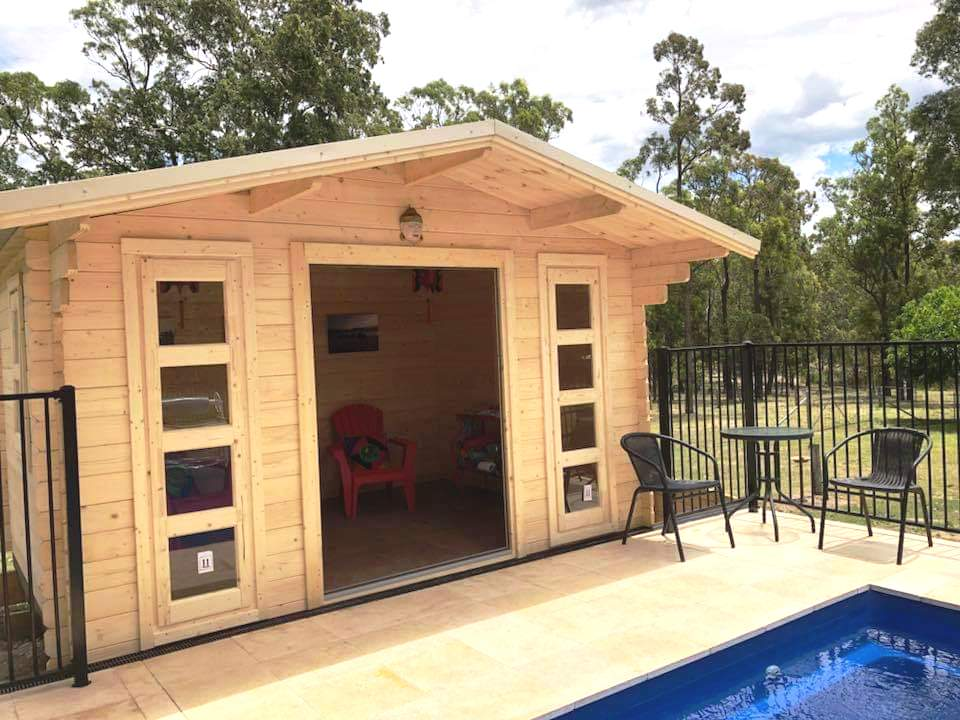Pool house in backyard, Central Coast