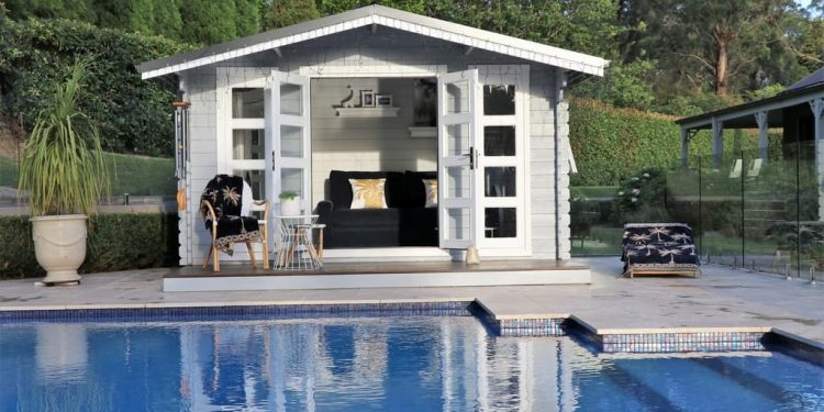 Pool house in backyard Southern Highlands