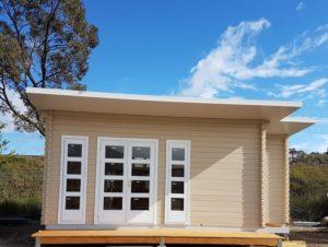 Santorini is customised Sicilia backyard cabin display in ACT