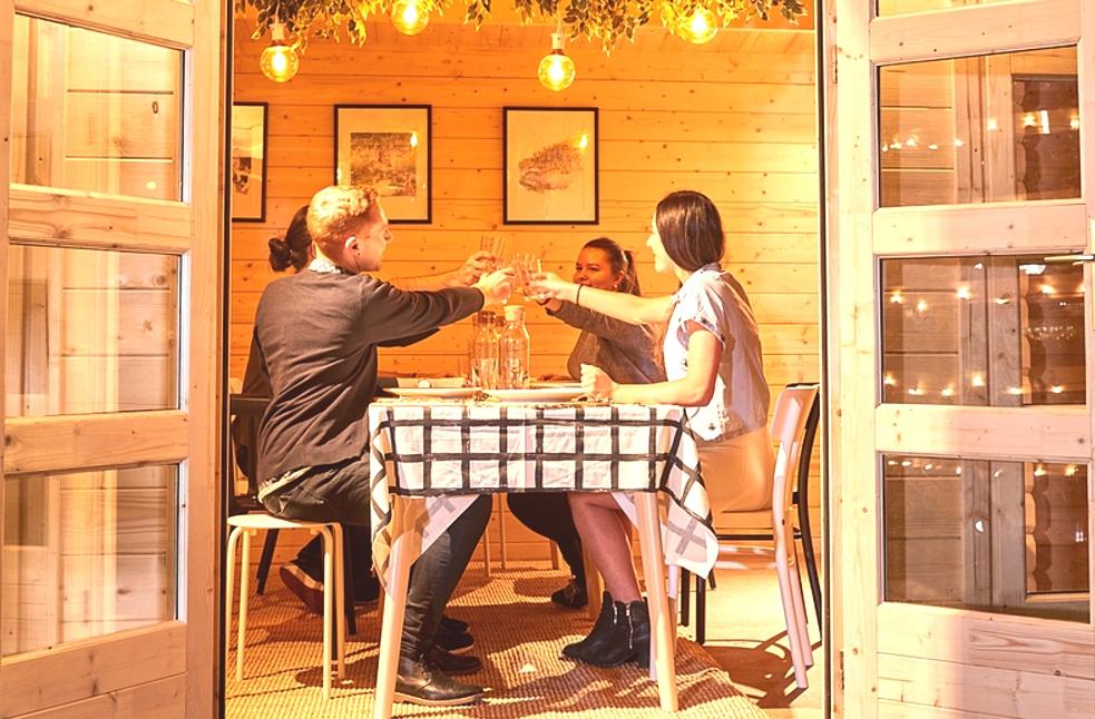 Inside Sicilia backyard cabin IKEA shared dining experience