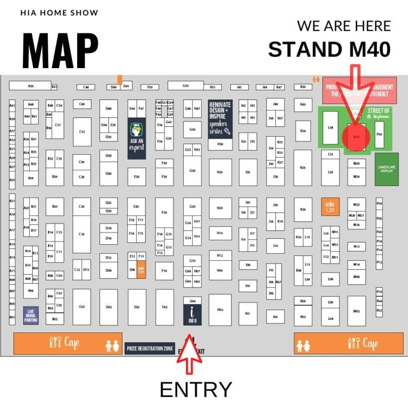 Stand M40 HIA Home show exhibitors map