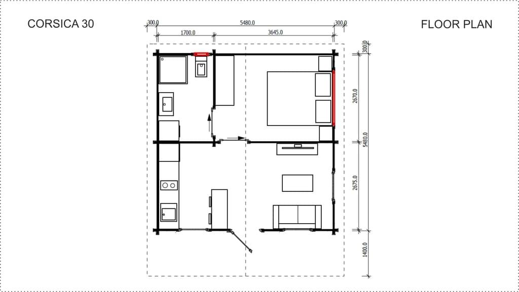 Backyard Cabin Corsica 30 floor plan