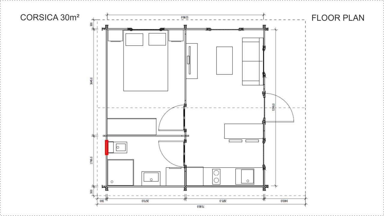 Backyard cabin Corsica 30 m2, floor plan