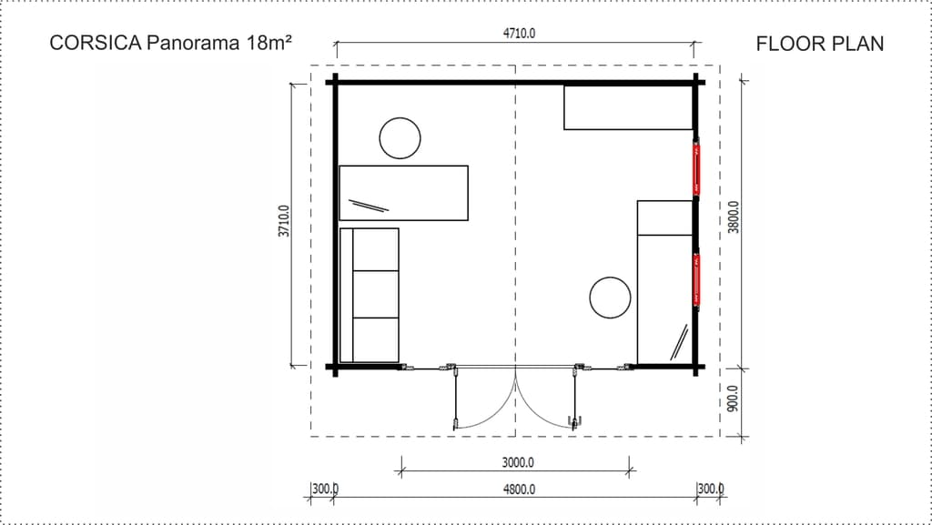 Backyard Cabin Corsica Panorama floor plan
