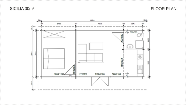 Backyard cabin Sicilia 30m² 1 bedroom floor plan