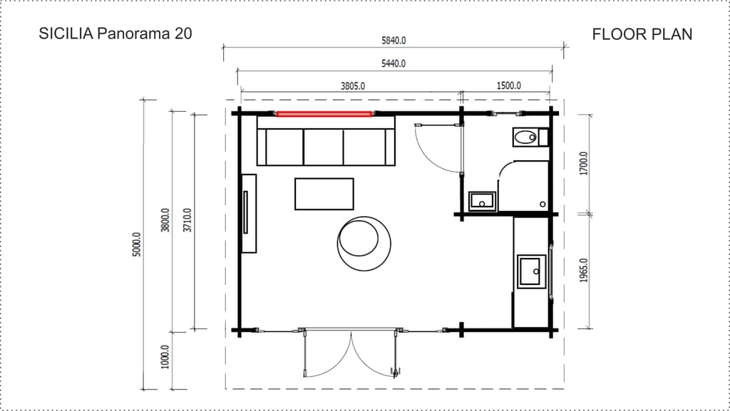 Backyard Cabin Sicilia Panorama 20 floor plan