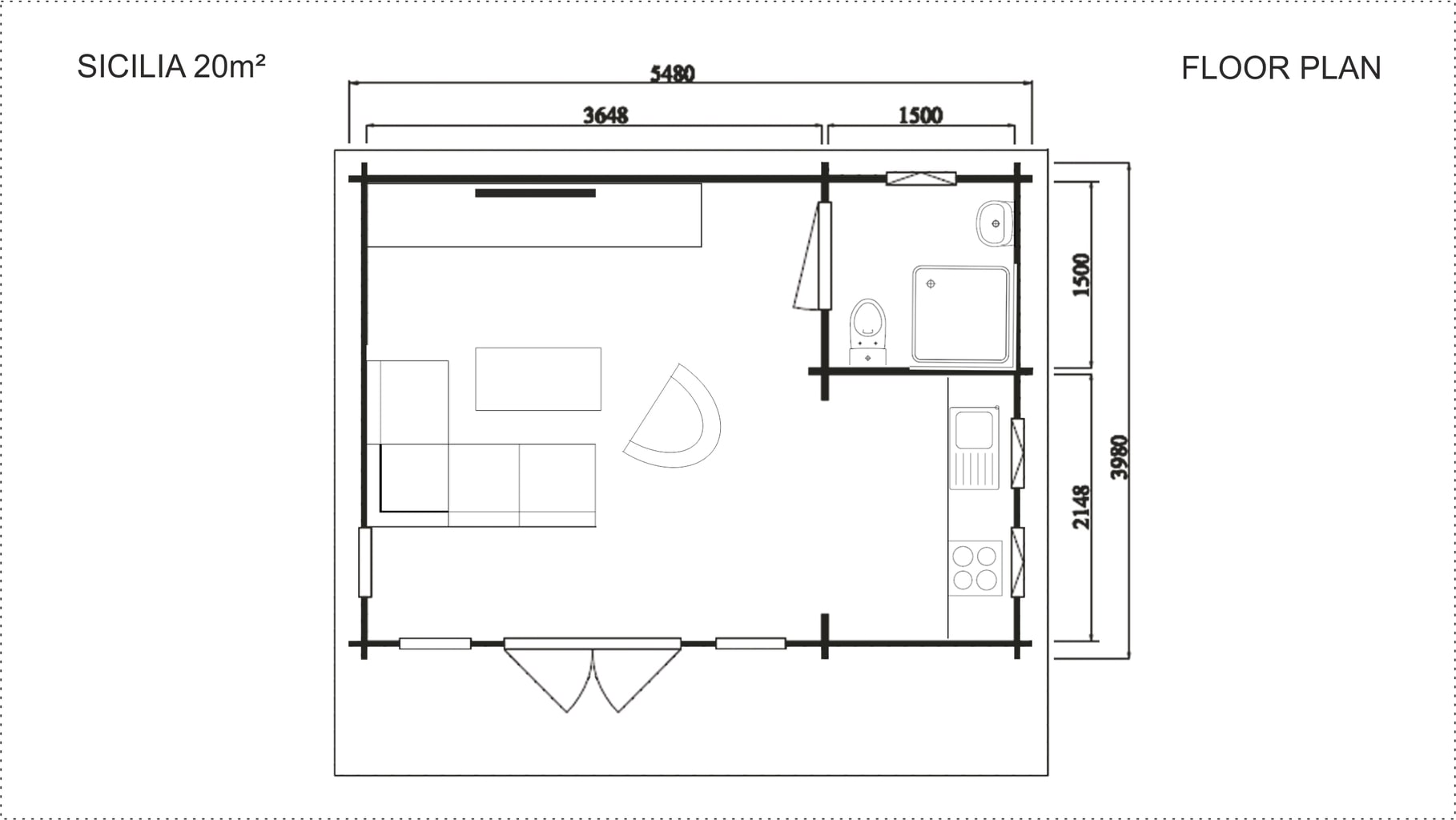 backyard cabin Sicilia floor plan