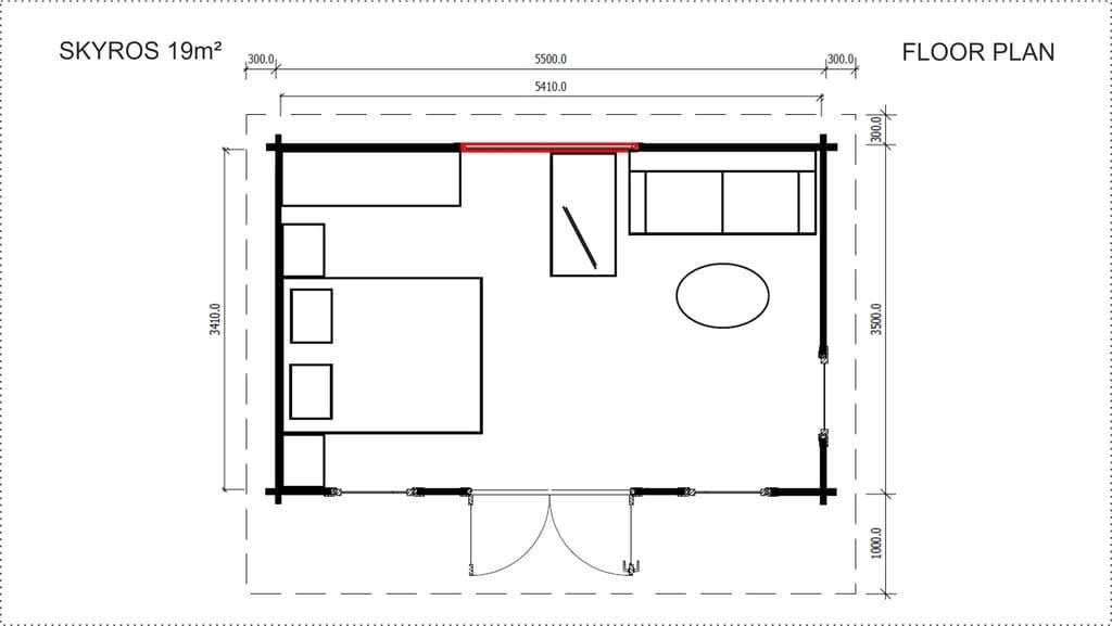 Backyard Cabin Skyros floor planBackyard Cabin Skyros floor plan