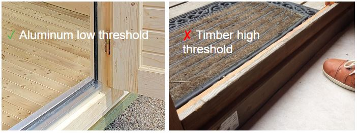 Backyard cabin aluminum low vs timber high threshold