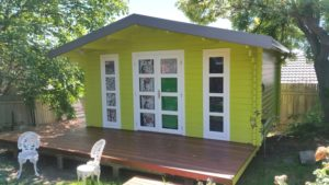 Backyard Cabin Corsica painted front view Armidale NSW 15-11-2017