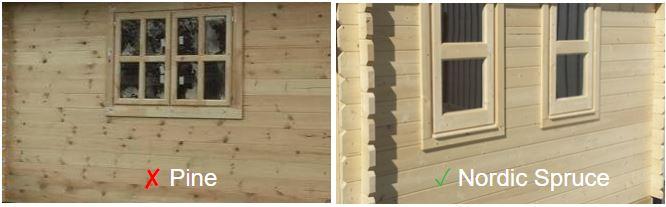 Backyard cabin nordic spruce vs pine