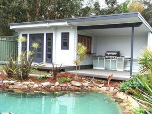 Daughters Retreat and a Pool House built Backyard Cabin Sicilia