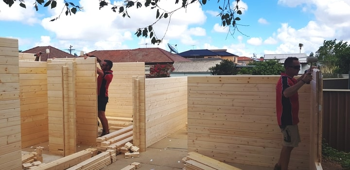 Granny flat building walls in Campsie