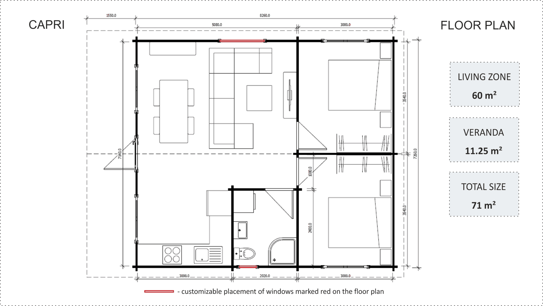 Granny flat Capri floor plan