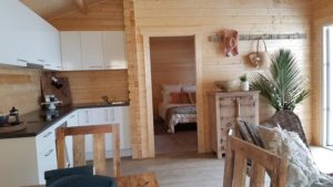 Granny flat Cyprus display village 2017, kitchen and living room