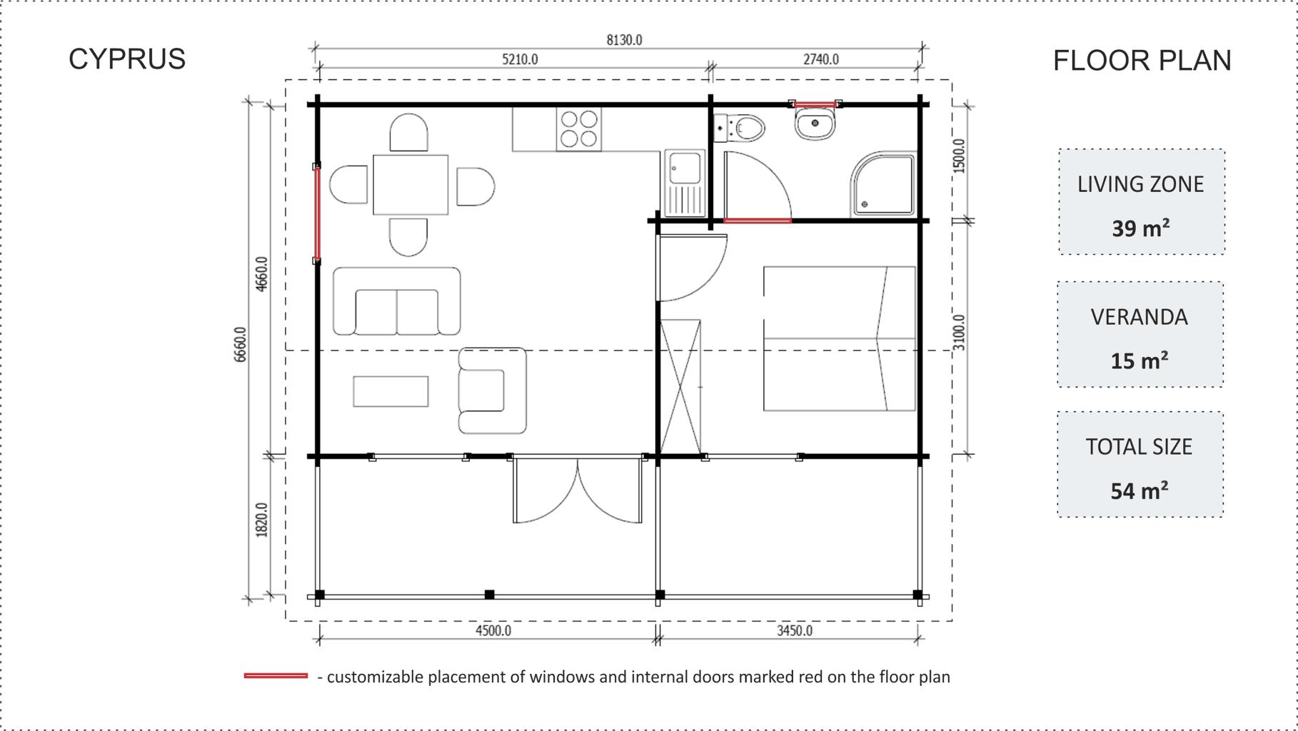 Granny flat Cyprus floor plan