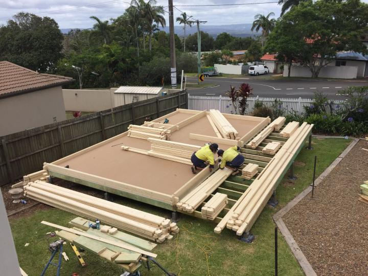 Construction day 2, Granny flat Cyprus, QLD, 2016