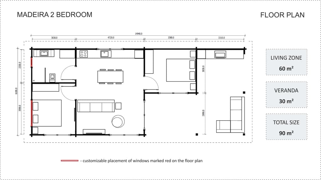 Granny flat Madeira 2 bedroom floor plan