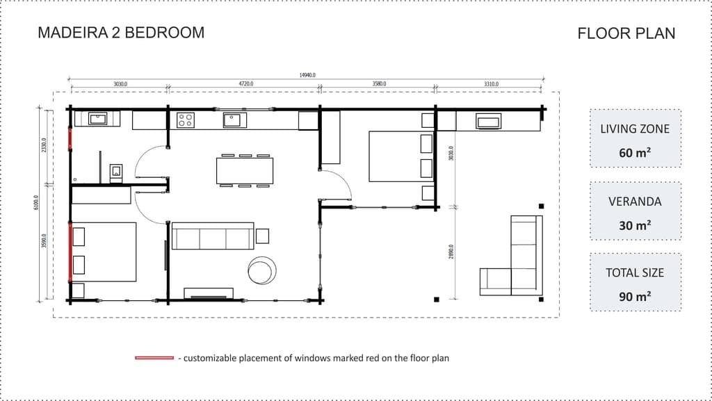 Madeira - 2 bedroom floor plan
