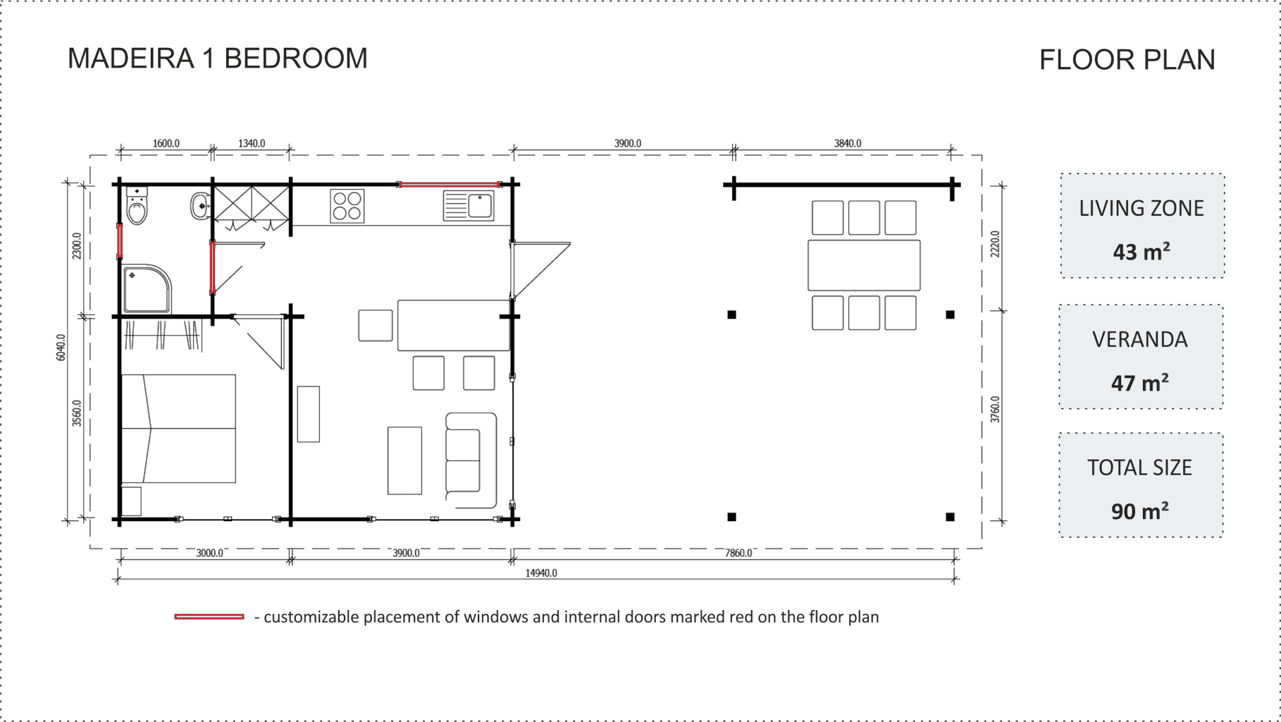 Granny flat Madeira 1 bedroom floor plan