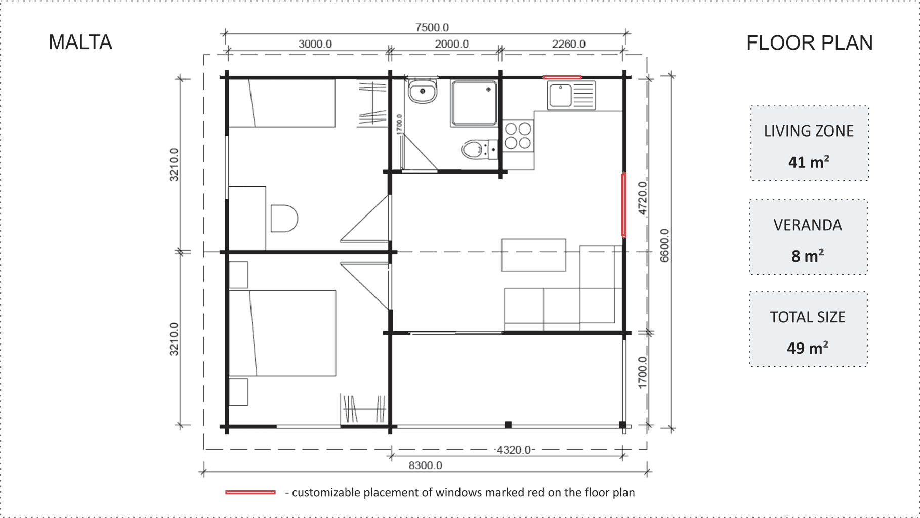 Granny flat Malta 2 bedroom floor plan