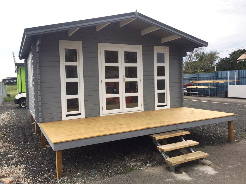 Log cabin Corsica Display in Brisbane - left side