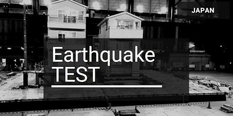 Log house earthquake testing in Japan