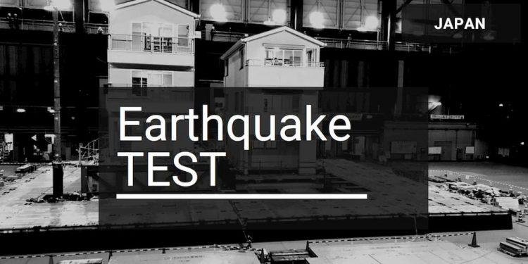 Log house earthquake testing in Japan